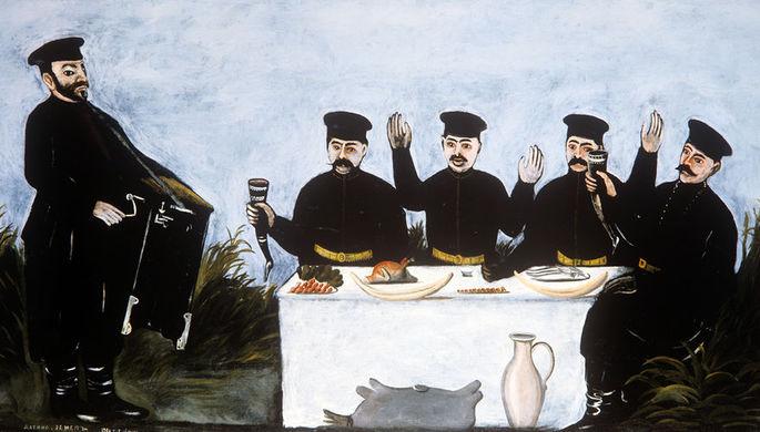 Нико Пиросмани. Кутеж с органщиком Датико Зелгел. 1909 год. Фрагмент