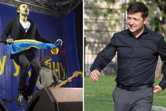 Лидер группы «Океан Эльзи» Святослав Вакарчук и избранный президент Украины Владимир Зеленский