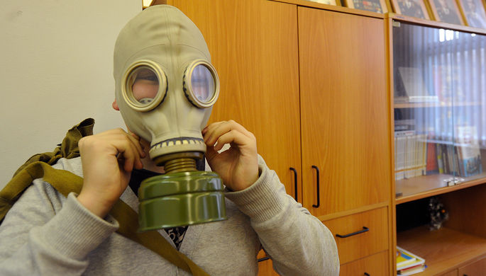 Во время занятий по основам безопасности жизнедеятельности в школе