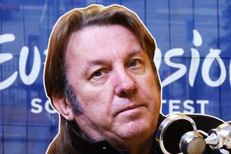 Исполнитель Юрий Лоза и логотип «Евровидения» в Киеве, коллаж