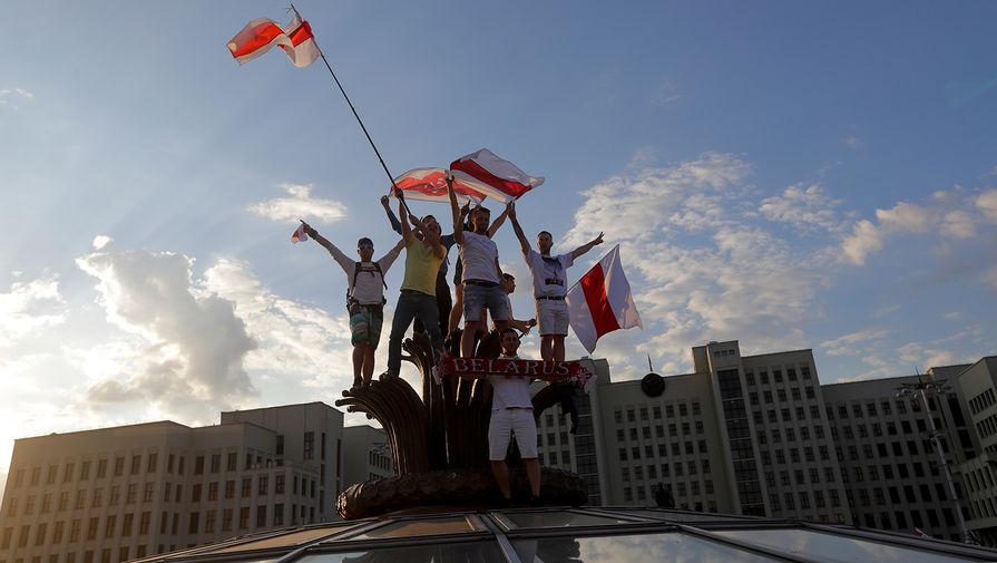 Во время протестов в Минске, 16 августа 2020 года