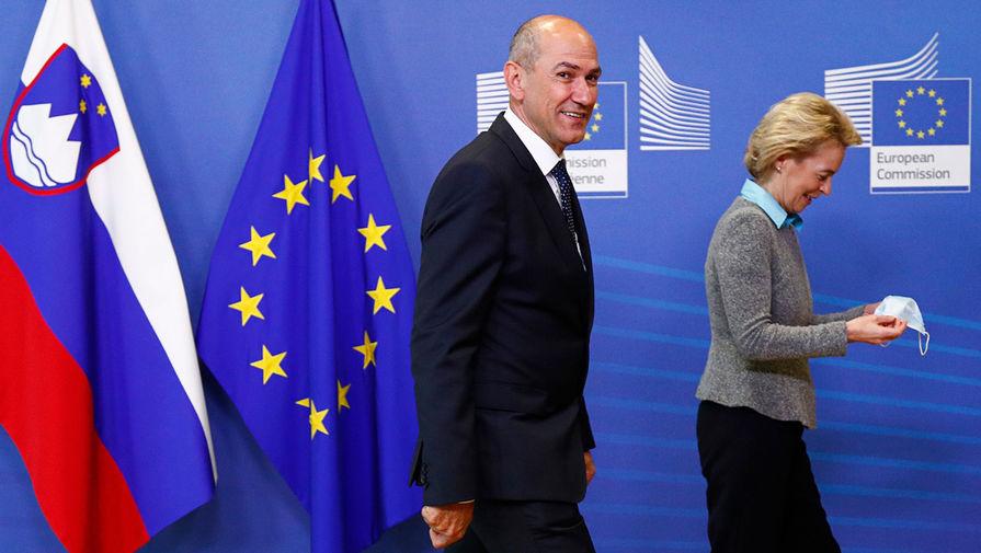 Премьер-министр Словении Янез Янша и президент Еврокомиссии Урсула фон дер Ляйен во время встречи в штаб-квартире ЕС в Брюсселе, июль 2020 года