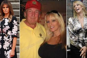 Мелания Трамп, Дональд Трамп и Стефани Клиффорд, больше известная как Stormy Daniels, коллаж «Газеты.Ru»