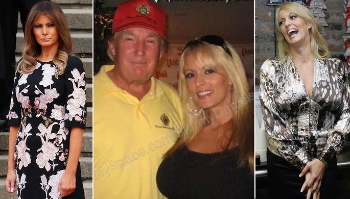 Мелания Трамп, Дональд Трамп и Стефани Клиффорд, больше известная как Stormy Daniels, коллаж...