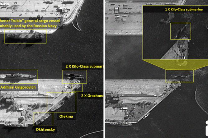 Два спутниковых снимка из сирийского порта Тартус, коллаж