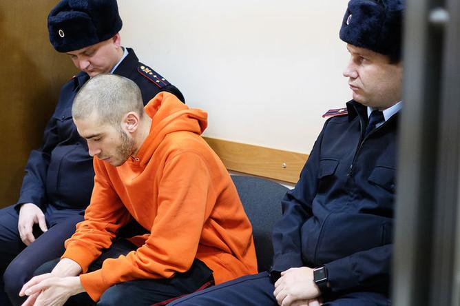 Рэпер Хаски (Дмитрий Кузнецов) во время рассмотрения административного дела в Первомайском районном суде Краснодара, 22 ноября 2018 года