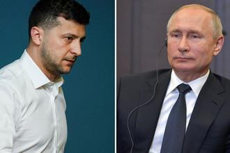 Президент России Владимир Путин и президент Украины Владимир Зеленский, коллаж