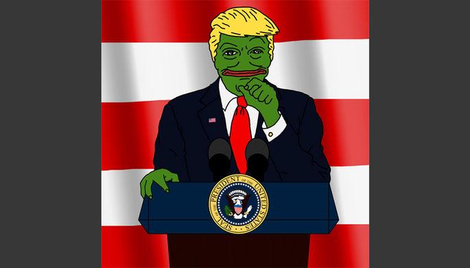 Дональд Трамп в виде лягушонка Пепе. Хиллари Клинтон связала использование Трампом образа лягушонка...