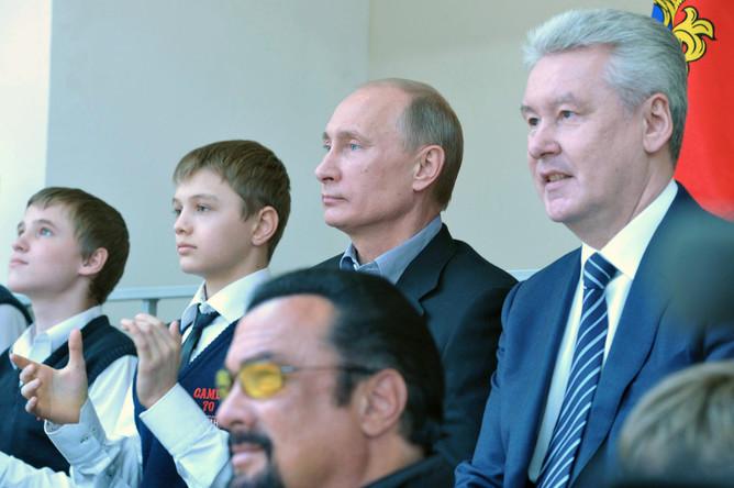 С президентом Владимиром Путиным и мэром Москвы Сергеем Собяниным