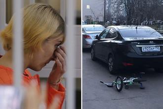 Обвиняемая Ольга Алисова во время заседания Железнодорожного городского суда 28 августа 2017 года и место ДТП, коллаж