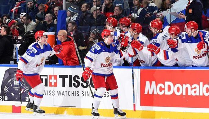 Фрагмент матча молодежной сборной России по хоккею с командой лиги Онтарио