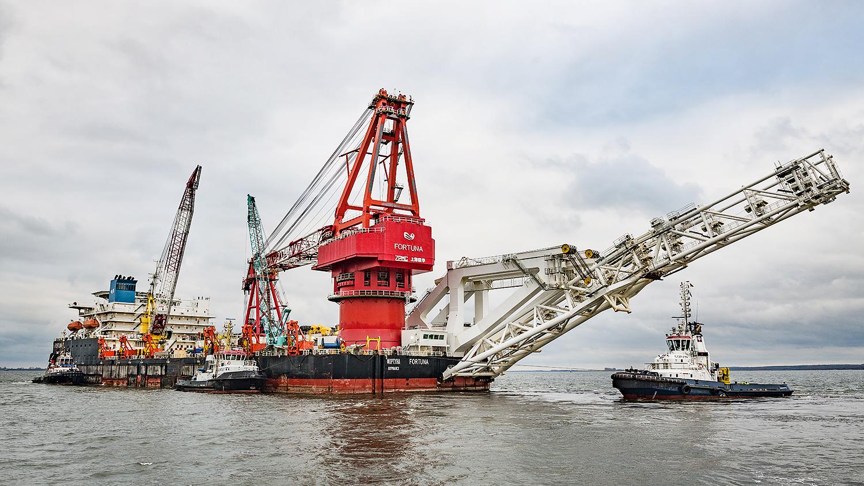 <br /><br />Судно-трубоукладчик «Фортуна» в порту немецкого города Висмар, январь 2021 года<br /><br />