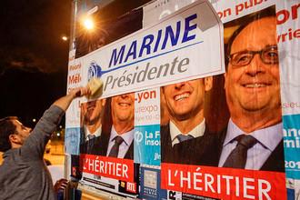 Члены молодежного крыла «Национального фронта» перед запуском президентской кампании Марин Ле Пен в Лионе, 2 февраля 2017 года