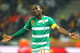 Нападающий сборной Кот-д'Ивуара Дидье Дрогба