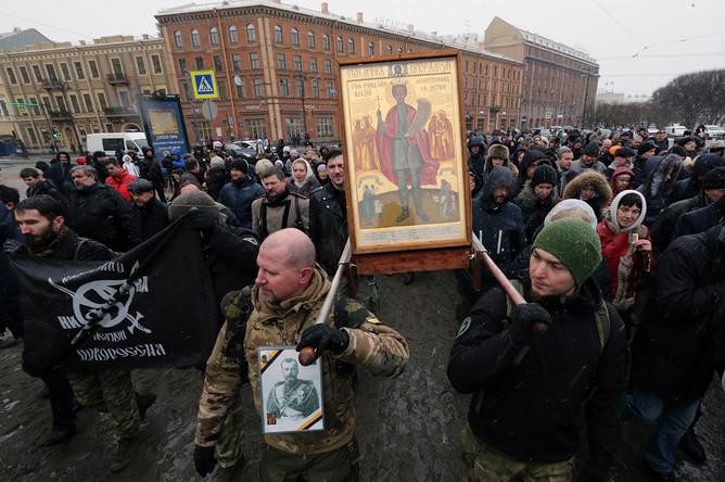Санкт-Петербург. 19 февраля 2017. Участники крестного хода в поддержку передачи Исаакиевского собора Русской православной церкви