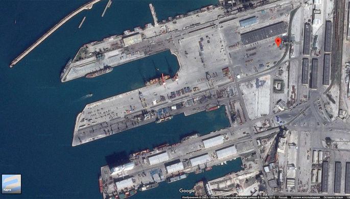 Порт Тартус в Сирии на картах Google