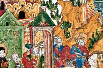 Преподобный Сергий Радонежский благословляет князя Дмитрия на битву. Фрагмент миниатюры из «Жития Сергия Радонежского» (XVII век)