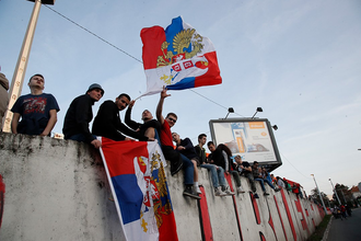 Болельщики московского «Спартака» в Белграде
