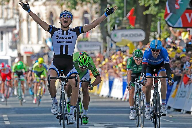 Немец Марсель Киттель, член команды Giant-Shimano, победитель первого этапа «Тур де Франс»