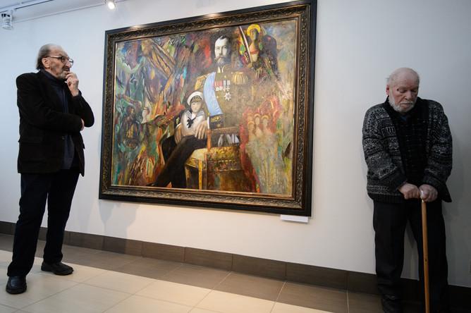Виталий Волович и Михаил Брусиловский во время презентации картины «Император Николай II» в Екатеринбурге, март 2016 года