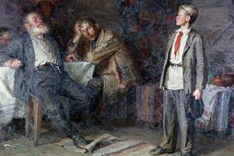 Репродукция картины художника Никиты Чебакова «Павлик Морозов» (1952 год)