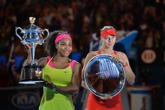 Мария Шарапова и Серена Уильямс после финала Australian Open 2015