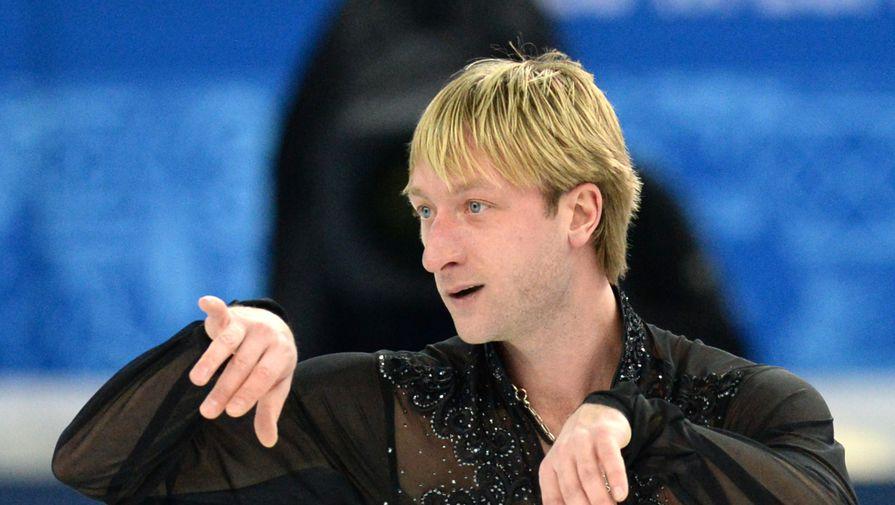 Евгений Плющенко во время выступления в командных соревнованиях на Играх в Сочи в 2014 году