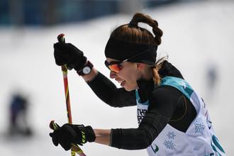 Российская биатлонистка Михалина Лысова на дистанции 6 км в соревнованиях среди слабовидящих на Паралимпиаде-2018 в Пхенчхане