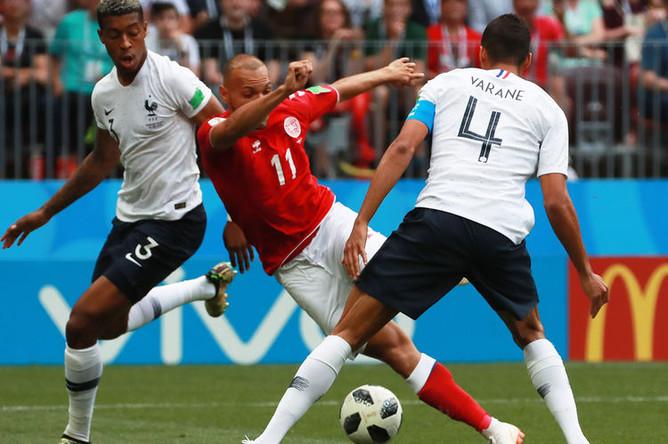 Во время матча группового этапа чемпионата мира по футболу между сборными Дании и Франции, 26 июня 2018 года