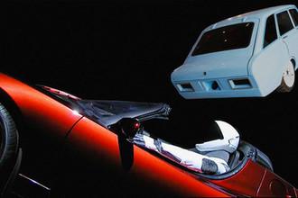 Tesla Roadster Илона Маска на орбите Земли и концепт-кар CV-1, коллаж «Газеты.Ru»