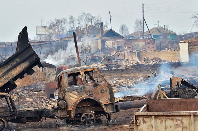 Последствия природных пожаров в селе Знаменка Республики Хакасия