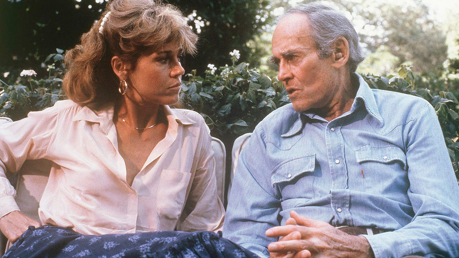 Джейн Фонда и ее отец Генри Фонда во время интервью, 1979 год