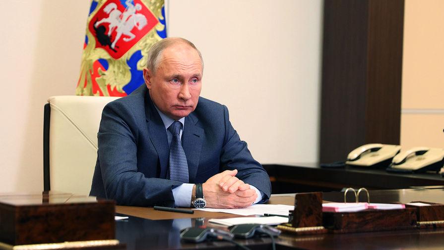 Президент России Владимир Путин проводит в режиме видеоконференции совещание с членами правительства России, 13 мая 2021 года