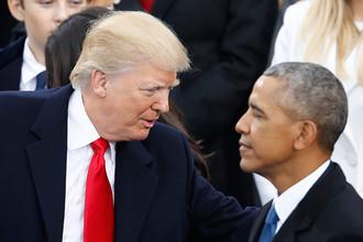 Дональд Трамп и Барак Обама перед инаугурацией 45-го президента США в Вашингтоне, 20 января 2017 года