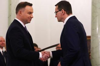 Премьер-министр Польши Матеуш Моравецкий и президент Польши Анджей Дуда