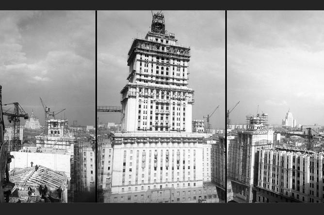 Строительство гостиницы «Украина», 1953 год