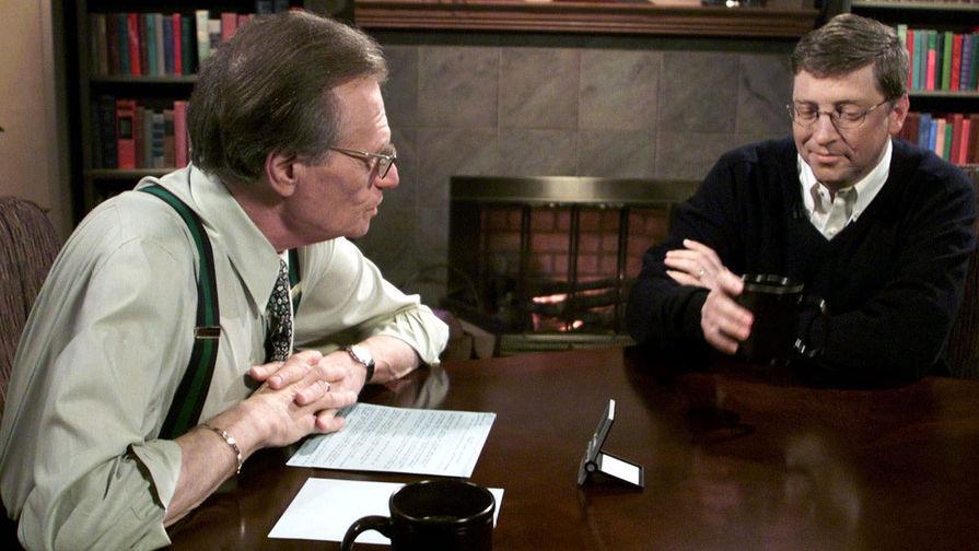 Телеведущий Ларри Кинг и основатель Microsoft Билл Гейтс, 2000 год