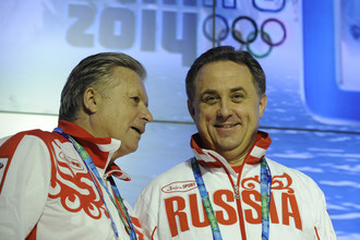 Виталий Мутко (справа) и один из его предшественников Леонид Тягачев на Олимпиаде в Ванкувере