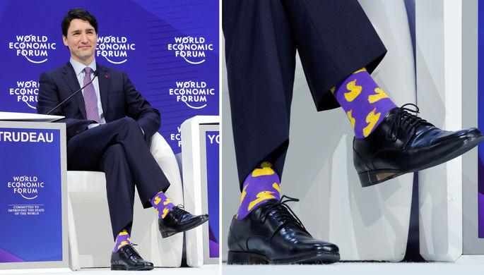 Премьер-министр Канады Джастин Трюдо и его носки во время Всемирного экономического форума в Давосе...