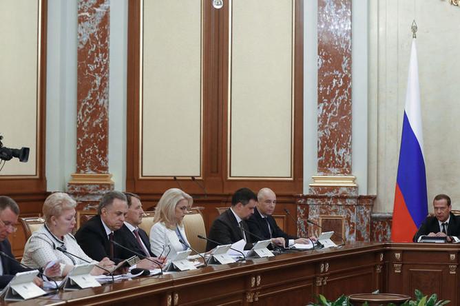 Председатель правительства РФ Дмитрий Медведев проводит заседание правительства РФ в новом составе