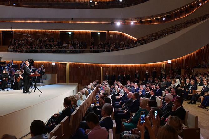 Президент РФ Владимир Путин на церемонии открытия нового концертного зала «Зарядье», 8 сентября 2018 года