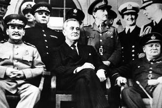 Тегеранская конференция (28 ноября- 1 декабря 1943 г.) лидеров трех стран: председателя ГКО, генерального секретаря ЦК ВКП(б), председателя СНК СССР И. В. Сталина, президента США Ф. Д. Рузвельта, премьер-министра Великобритании У. Черчилля
