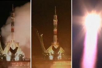 Ракета-носитель «Союз-ФГ» с пилотируемым кораблем «Союз МС-12» после старта с космодрома Байконур, 14 марта 2019 года