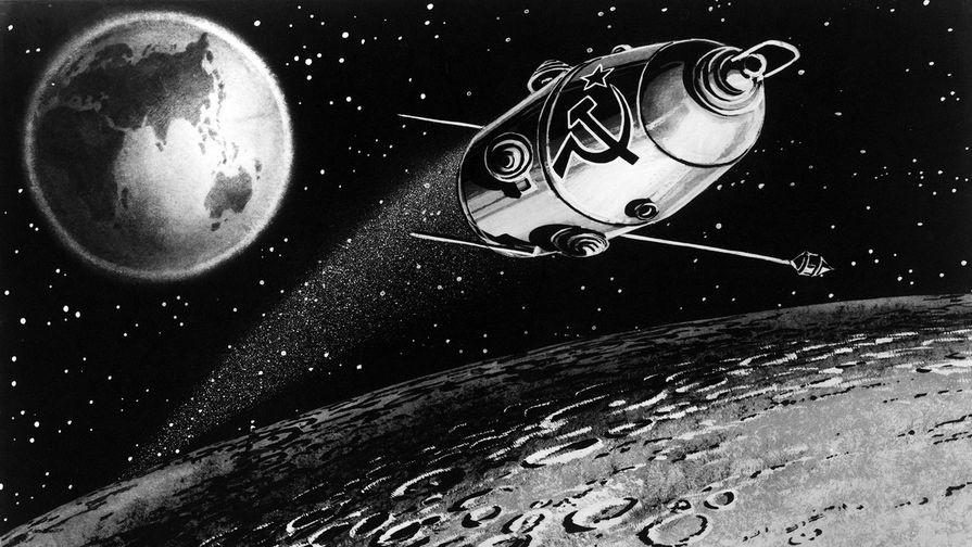 Рисунок межпланетной автоматической станции «Луна-10», 1966 год