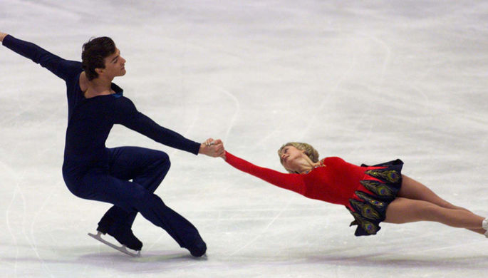 Елена Бережная и Антон Сихарулидзе на соревнованиях в Праге, 1999 год