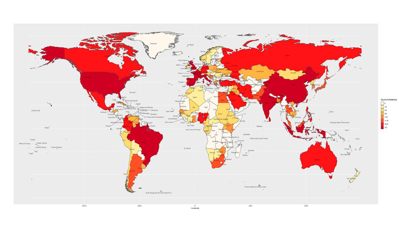 Карта распространения фейков о коронавирусе