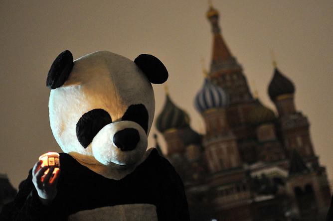 Празднование «Часа Земли» на Красной площади в Москве