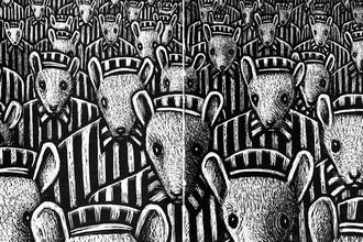 Фрагмент иллюстрации из графического романа Артома Шпигельмана о жизни его отца, пережившего холокост. В России комикс издан в 2014 году под названием «Маус», в издательстве Corpus.