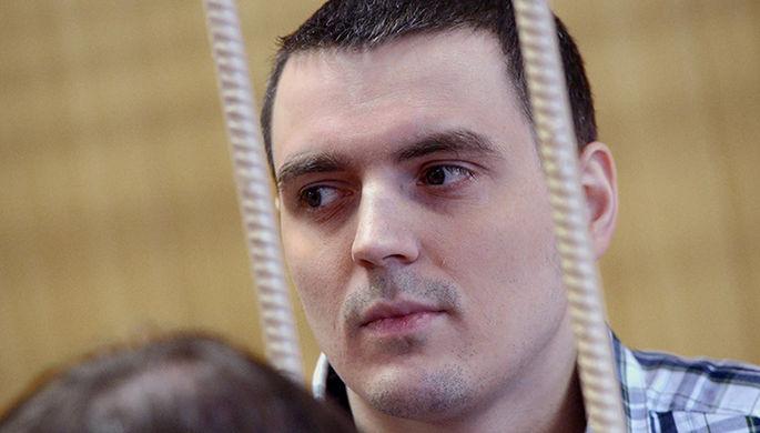 Журналист РБК Александр Соколов во время рассмотрения уголовного дела об экстремизме в Тверском суде Москвы, декабрь 2016 года