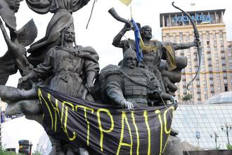Палаточный лагерь на площади Независимости в Киеве, 16 июля 2014